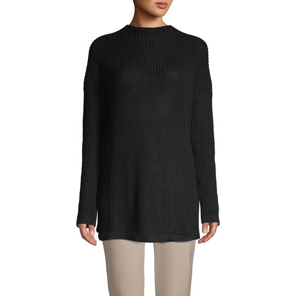 コアライフ レディース ニット&セーター アウター Funnel-Neck Ribbed Sweater Black
