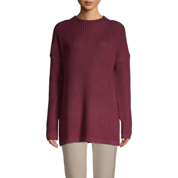 コアライフ レディース ニット&セーター アウター Funnel-Neck Ribbed Sweater Oxblood