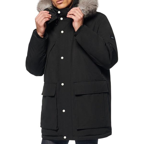 アンドリューマーク メンズ ジャケット&ブルゾン アウター Koriabo Fox Fur-Trim Cotton Blend Down-Filled Jacket Black