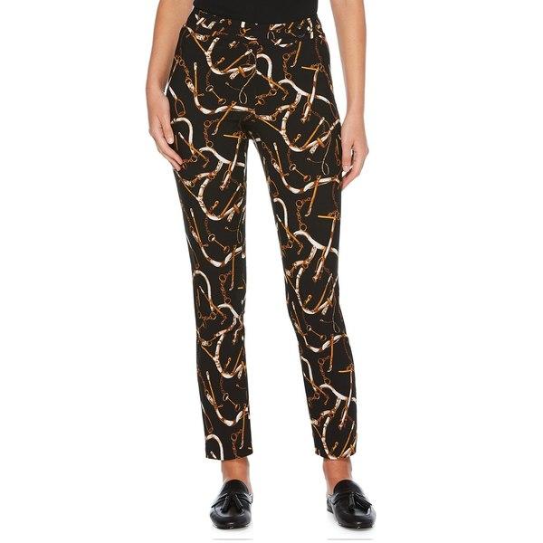ラファエラ レディース カジュアルパンツ ボトムス Equestrian Strap-Print Ankle-Length Pants Black