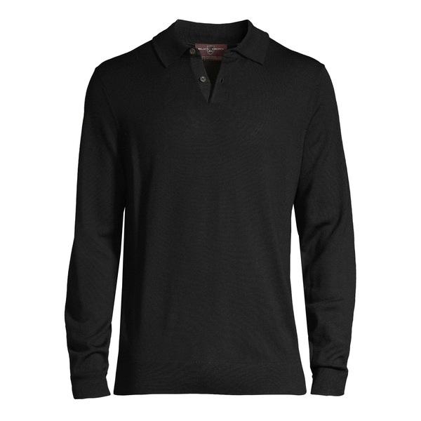 ブラック・ブラウン1826 メンズ ポロシャツ トップス Merino Wool Long-Sleeve Polo Shirt Black