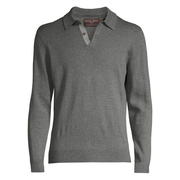 ブラック・ブラウン1826 メンズ ポロシャツ トップス Merino Wool Long-Sleeve Polo Shirt Stone Grey