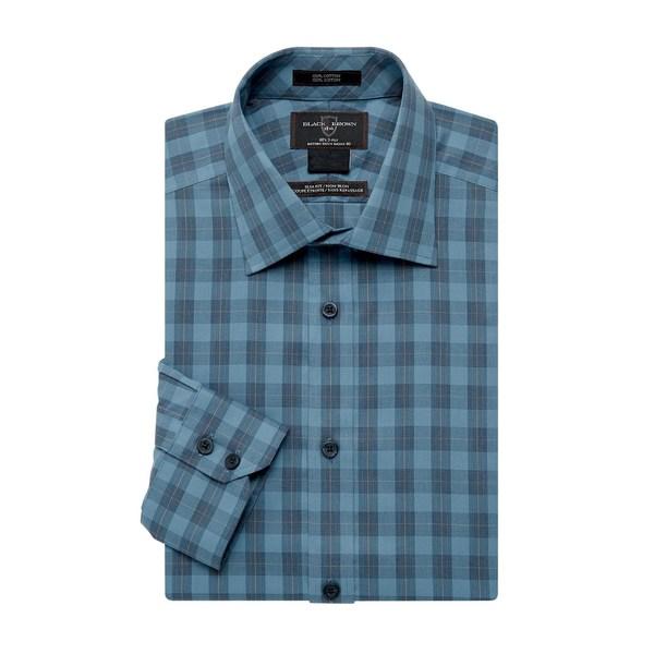 ブラック・ブラウン1826 メンズ シャツ トップス Plaid-Print Cotton Dress Shirt Blue