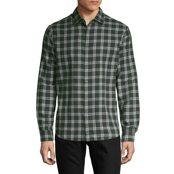 ブラック・ブラウン1826 メンズ シャツ トップス Plaid-Twill Shirt Dark Pine