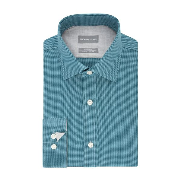 マイケルコース メンズ シャツ トップス Regular-Fit Airsoft Non-Iron Puppytooth Dress Shirt Teal