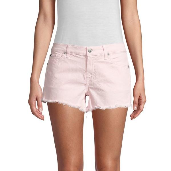 7フォーオールマンカインド レディース デニムパンツ ボトムス Frayed Hem Cut-Off Shorts Pearl Pink