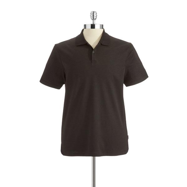 カルバンクライン メンズ ポロシャツ トップス Striped Liquid Cotton Polo Shirt Black