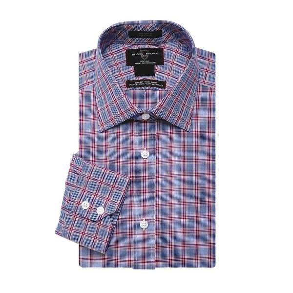 ブラック・ブラウン1826 メンズ シャツ トップス Checkered Long-Sleeve Dress Shirt Berry
