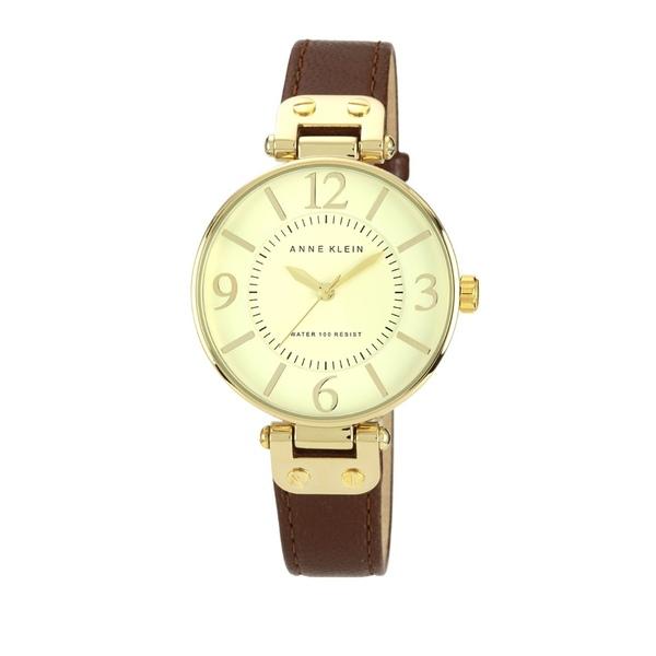 アンクライン レディース 腕時計 アクセサリー Ladies Brown Leather Watch Brown