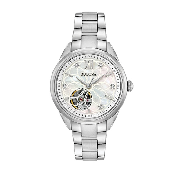 ブロバ レディース 腕時計 アクセサリー Automatic Openwork Dial Stainless Steel & Diamond Bracelet Watch Silver
