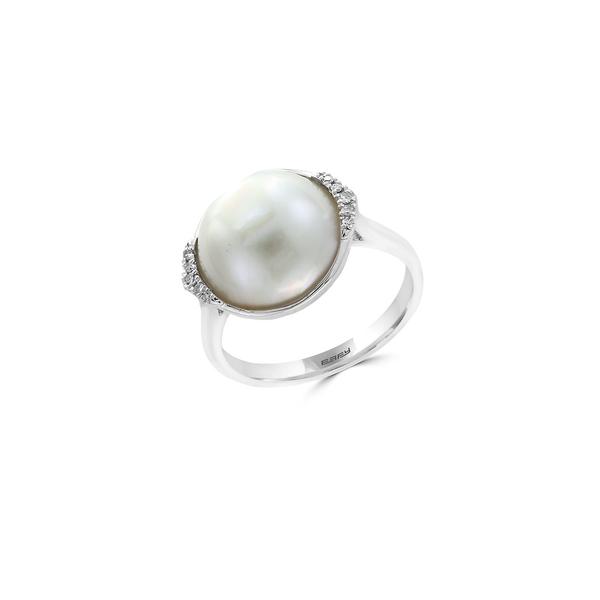 エフィー レディース リング アクセサリー 12.5MM White Mabe Pearl, Diamond & Sterling Silver Accented Solitaire Ring Silver