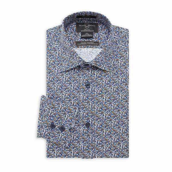 ブラック・ブラウン1826 メンズ シャツ トップス Slim-Fit Floral Dress Shirt Navy