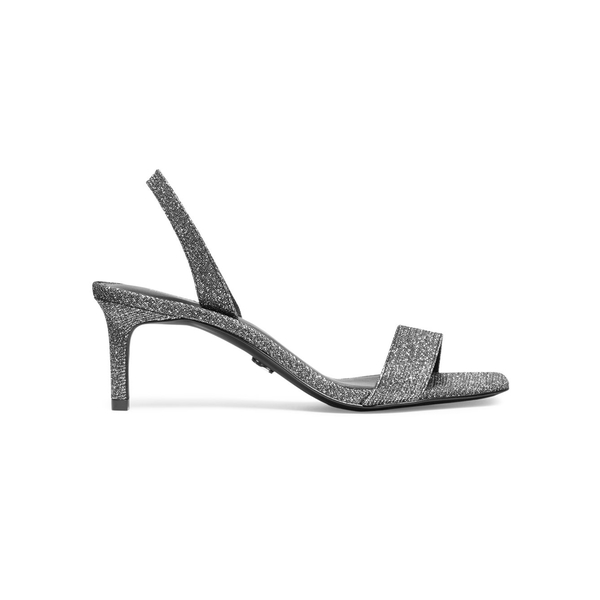 マイケルコース レディース サンダル シューズ Mila Glitter Slingback Heeled Sandals Black Silver