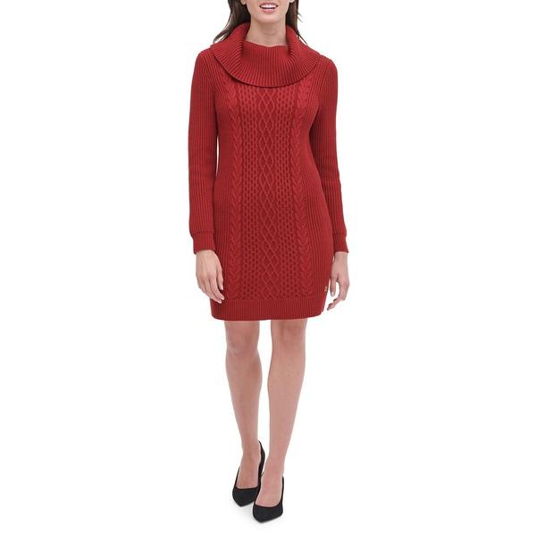 トミー ヒルフィガー レディース ワンピース トップス Cable-Knit Sweater Dress Hickory