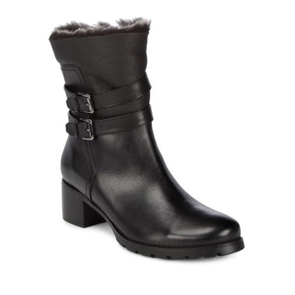 ブロンド レディース パンプス シューズ Fabiana Waterproof Leather Faux Fur Trim Boots Black