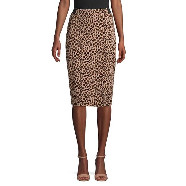 コンテキスト レディース スカート ボトムス Leopard Print Pencil Skirt Natural Multi