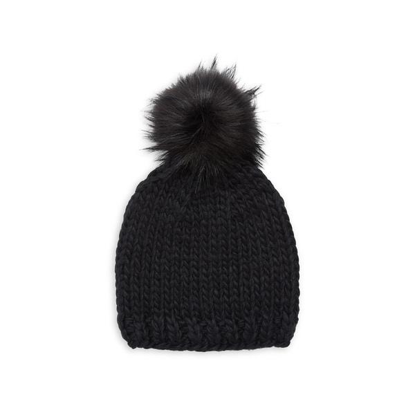 エコー レディース 帽子 アクセサリー Faux-Fur Pom Pom Toque Echo Black