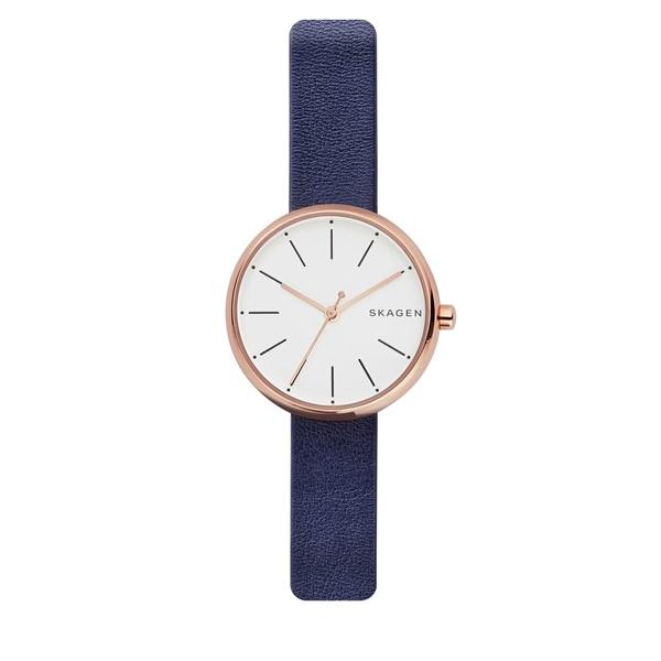 スカーゲン レディース 腕時計 アクセサリー Signatur Round Leather Strap Watch Navy Blue