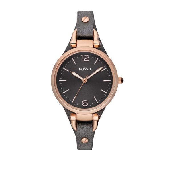 フォッシル レディース 腕時計 アクセサリー Georgia Black Leather Watch Black
