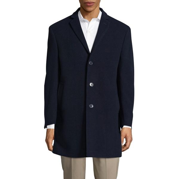 カルバンクライン メンズ ジャケット&ブルゾン アウター Wool-Blend Button-Front Coat Blue