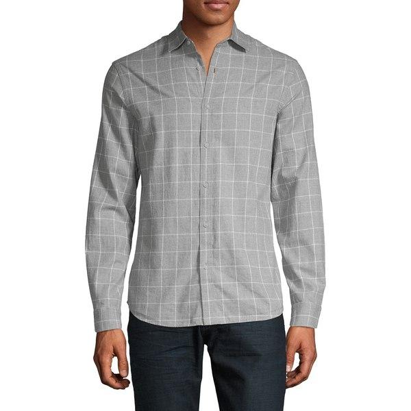 ブラック・ブラウン1826 メンズ シャツ トップス Classic-Fit Windowpane Shirt Baltic Grey