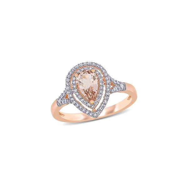 ソナティナ レディース リング アクセサリー 14K Rose Gold, Morganite & 0.25 TCW Diamond Double Halo Ring Rose Gold
