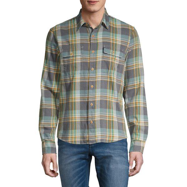 ラッキーブランド メンズ シャツ トップス Plaid Lightweight Button-Front Shirt Grey Yellow