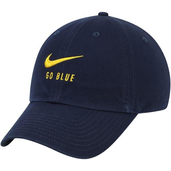 ナイキ メンズ アクセサリー 帽子 Navy ランキングTOP5 全商品無料サイズ交換 Michigan Wolverines オンライン限定商品 Nike Heritage Go 86 Blue Adjustable Big Hat Swoosh
