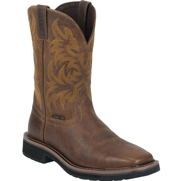 ジャスティンブーツ メンズ ブーツ&レインブーツ シューズ Justin Men's Handler Composite Toe Western Work Boots Brown