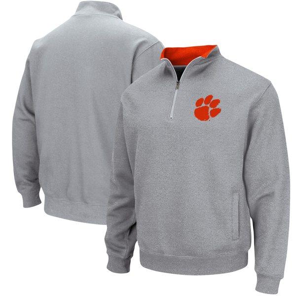コロシアム メンズ ジャケット&ブルゾン アウター Clemson Tigers Colosseum Tortugas Logo QuarterZip Pullover Jacket White