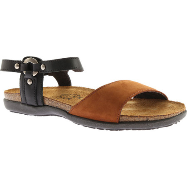 ナオト レディース サンダル シューズ Sabrina Sandal Jet Black Leather/Hawaiian Brown Nubuck