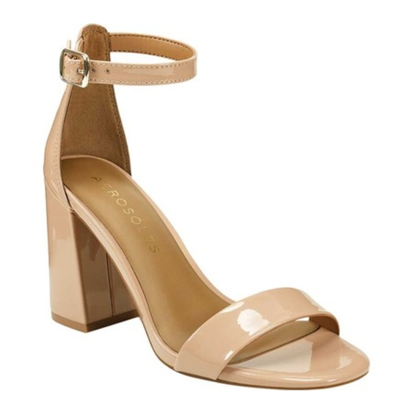 エアロソールズ レディース サンダル シューズ Long Beach Ankle Strap Heeled Sandal Nude Synthetic Patent Leather