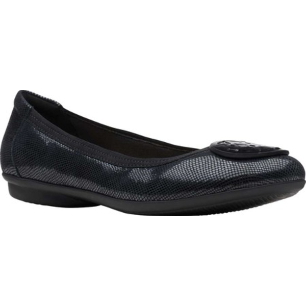 クラークス レディース サンダル シューズ Gracelin Lola Ballet Flat Black Interest Full Grain Leather