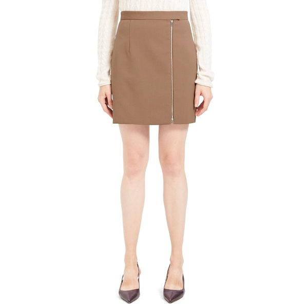 セオリー レディース スカート ボトムス Theory Exposed Zip Wool Blend Miniskirt Classic Camel