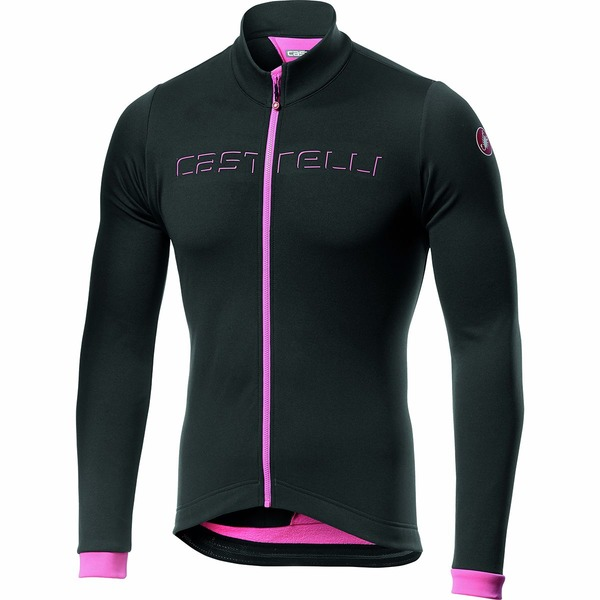 カステリ メンズ サイクリング スポーツ Fondo Full-Zip Long-Sleeve Jersey - Men's Dark Gray/Pink