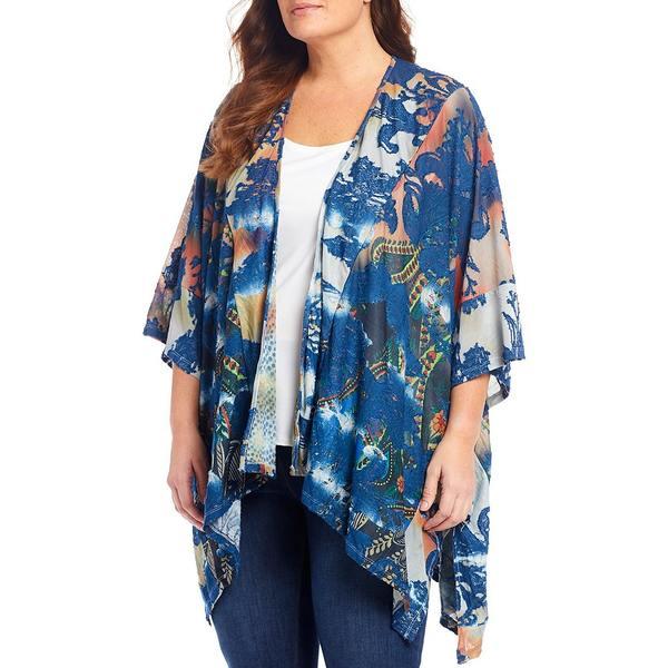 カレッサ レディース ニット&セーター アウター Plus Size Tie-Dye Paisley Cardigan Cobalt Multi
