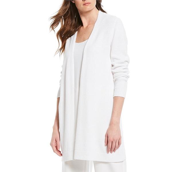 エイリーンフィッシャー レディース ニット&セーター アウター Petite Size Organic Linen Cotton Long Open Front Cardigan White
