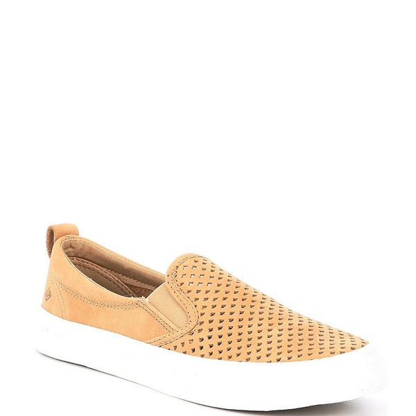 スペリー レディース スニーカー シューズ Crest Twin Gore Leather Scalloped Perforated Slip Ons Light Peanut
