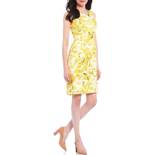 カスパー レディース ワンピース トップス Painted Floral Print Crepe Sleeveless Sheath Dress Sunburst Multi