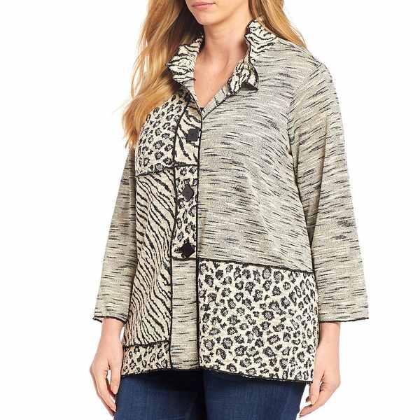アリ マイルス レディース ジャケット&ブルゾン アウター Plus Size Mixed Print Texture Exposed Seam Button Front Jacket Winter White