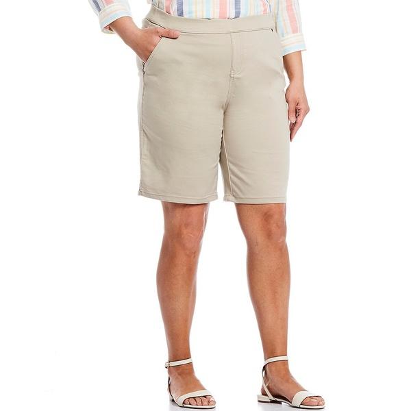 イントロ レディース カジュアルパンツ ボトムス Plus Size Rose Tummy Control Pull-On Bermuda Shorts Classic Khaki