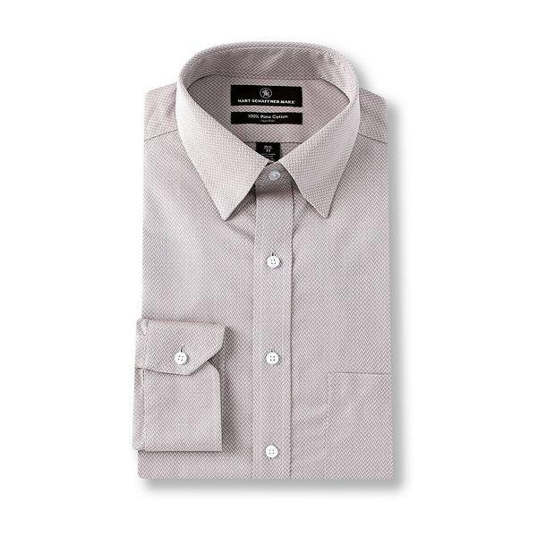 ハートシャファネールマークス メンズ シャツ トップス Non-Iron Classic Fit Hidden-Button Down Collar Herringbone Dress Shirt Grey