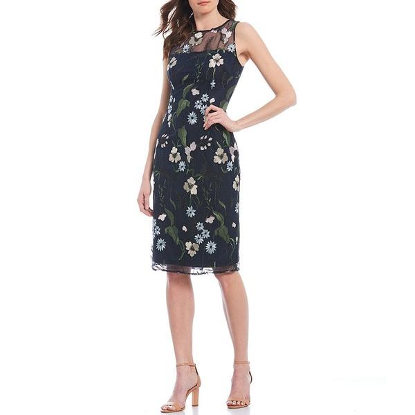 アドリアナ パペル レディース ワンピース トップス Floral Embroidered Sheath Dress Navy Multi