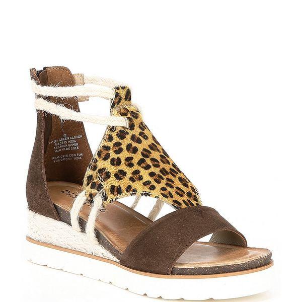 ディバトゥルー レディース サンダル シューズ Green Clover Leopard Haircalf Wedge Sandals Brown/Leopard