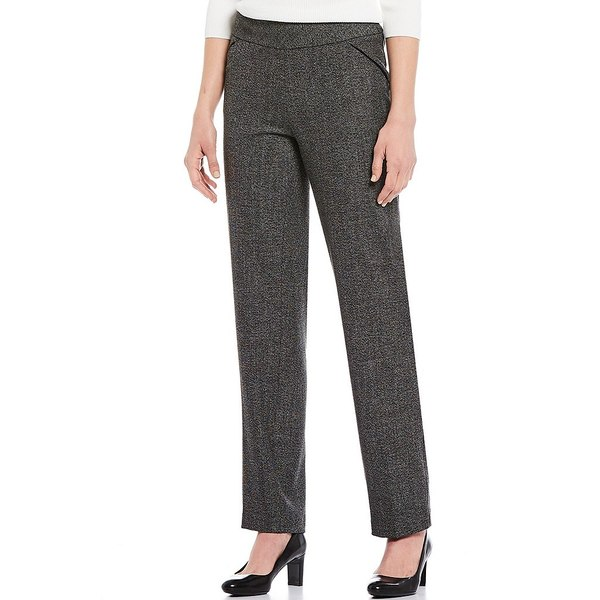 インベストメンツ レディース カジュアルパンツ ボトムス the PARK AVE fit Pull-On Straight Leg Tweed Pants with Pockets Black/White Tweed
