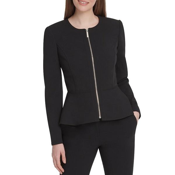 ダナ キャラン ニューヨーク レディース ジャケット&ブルゾン アウター Collarless Zip Front Long Sleeve Peplum Jacket Black