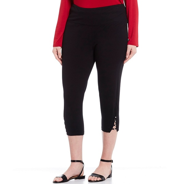 イントロ レディース レギンス ボトムス Plus Size #double;Teri#double; Love the Fit Bead Detail Hem Cotton Blend Capri Leggings Ebony Black