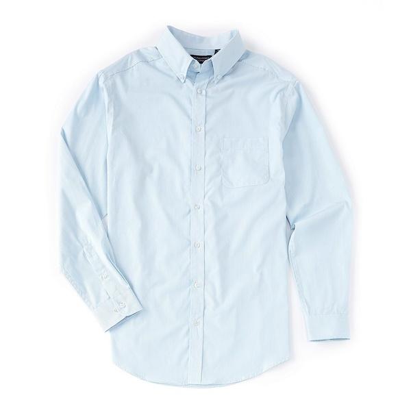 ランドツリーアンドヨーク メンズ シャツ トップス Luxury Cotton Long-Sleeve Striped Sportshirt Pale Blue