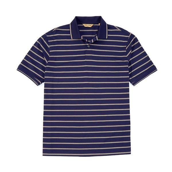 ランドツリーアンドヨーク メンズ ポロシャツ トップス Gold Label Roundtree & Yorke Perfect Performance Short-Sleeve Striped Non-Iron Polo Ink Blue