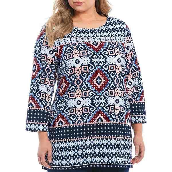 ルビーロード レディース Tシャツ トップス Plus Size New Horizon Border Print 3/4 Sleeve Knit Top Navy Multi